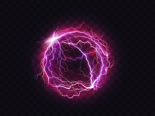 Electric ball lightning circle strike impact place Free Vector