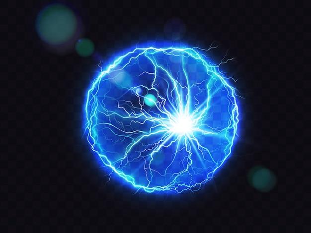 Luogo di impatto del colpo di fulmine della sfera elettrica Vettore gratuito