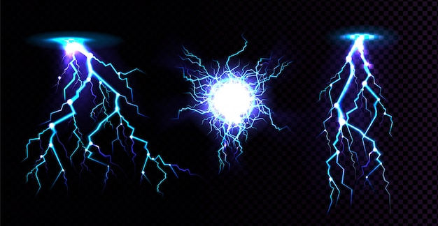 Electric ball and lightning strike, impact place, plasma sphere or magical energy flash in blue color isolated on black background. powerful electrical discharge, realistic 3d illustration Free Vector