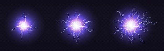 전기 공, 원형 번개, 소형, 중형 및 대형 크기의 파란색 벼락 원. 마법 에너지 타격, 플라즈마 구체, 강력한 전기 절연 방전 눈부심 무료 벡터