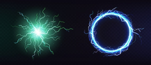 Electric ball, round lightning frame 3d Free Vector