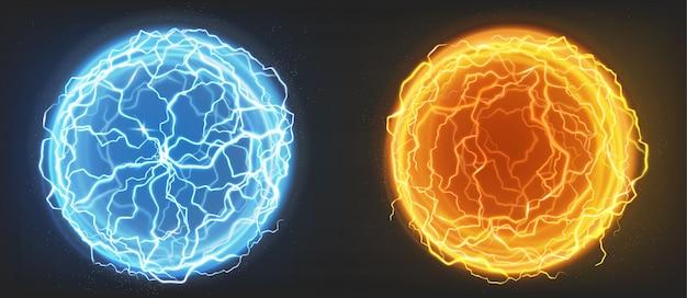 電気ボール、青とオレンジのプラズマ球 無料ベクター