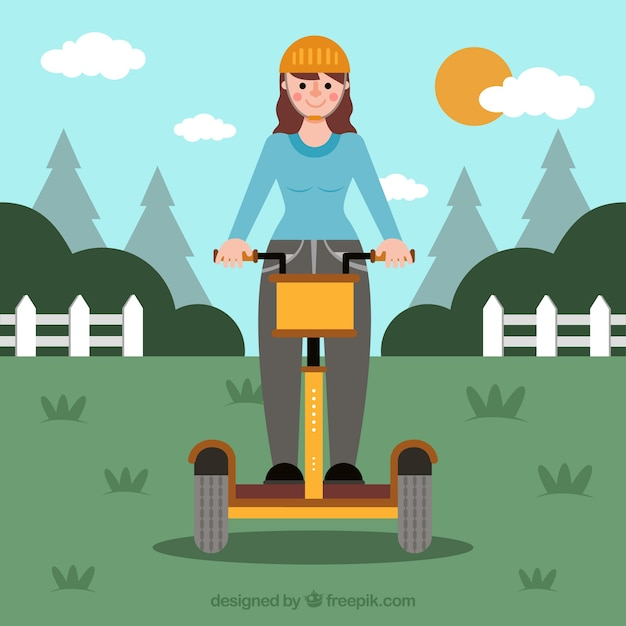 Electric bike concept with girl in countryside Free Vector