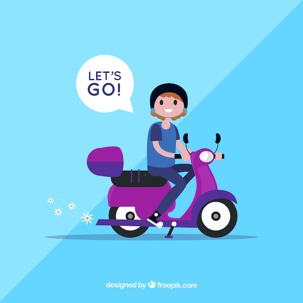 Electric bike concept with woman saying lets go Free Vector