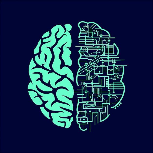 Electric brain Premium Vector