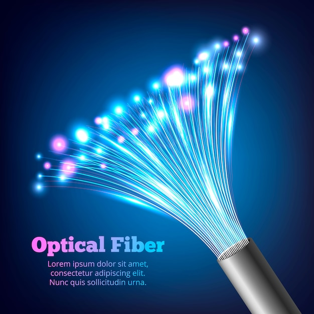 Electric cables optic fibers realistic composition Free Vector