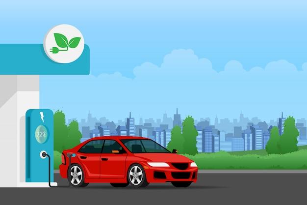 Electric car charging battery. Premium Vector
