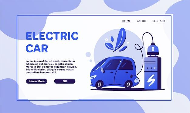 Electric car. charging concept. eco city. ecological problems. electrocar design. Premium Vector