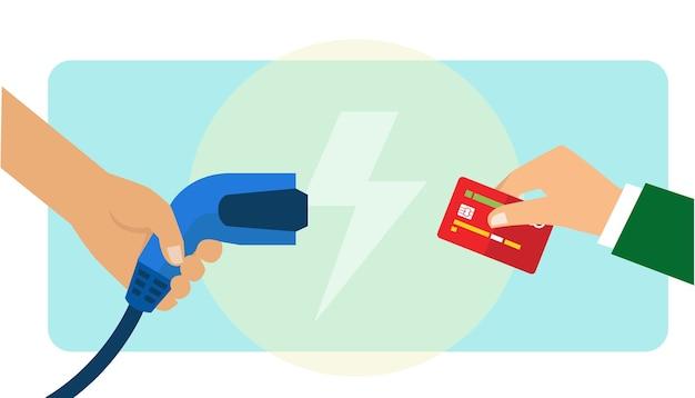 Electric car charging payment using credit card Premium Vector