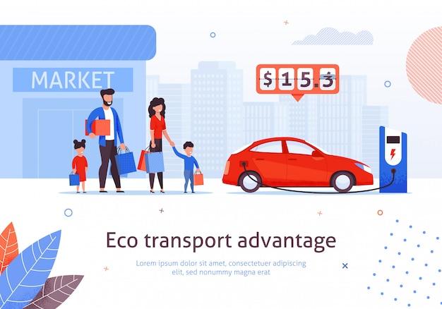Electric car charging station at market parking Premium Vector
