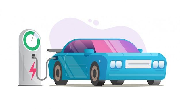 電気自動車の充電ステーションベクトルまたは電気自動車の充電システム Premiumベクター