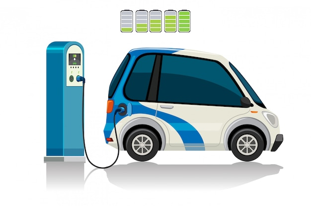 An electric car at charging station Free Vector