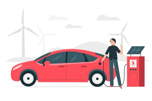Electric car concept illustration Free Vector