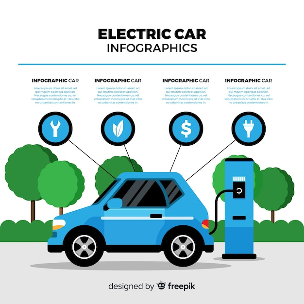 Electric car infographics Free Vector