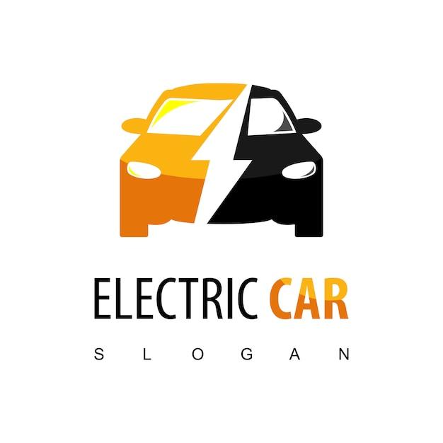 Electric car logo Premium Vector