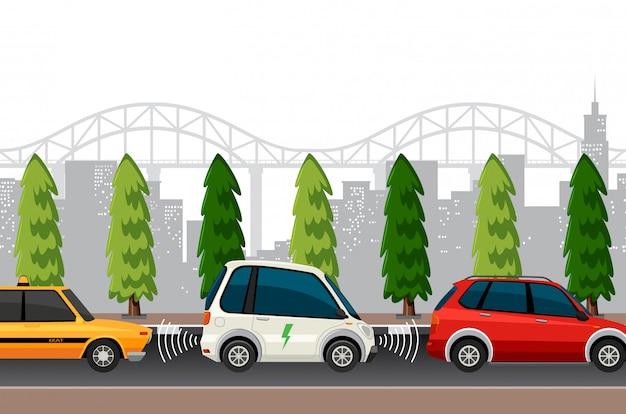 Electric car parking scene Premium Vector
