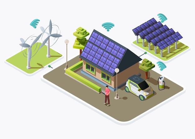 電気自動車、風力タービンやソーラーパネルによって生成される代替エネルギー源に接続されたスマートハウス。スマートグリッドのコンセプトデザイン。白い背景で隔離の平らな等角図 無料ベクター