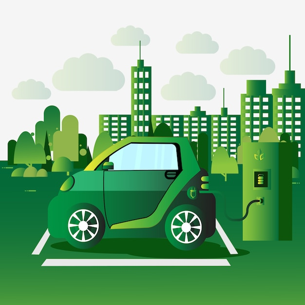 Electric car vechicle charging at station eco friendly auto concept Premium Vector
