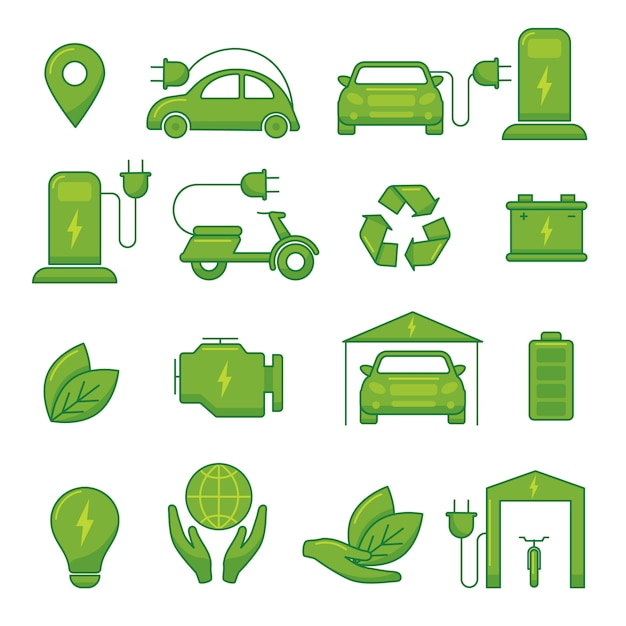 Electric car vector green eco technology icons for transport auto vehicle illustration Premium Vector