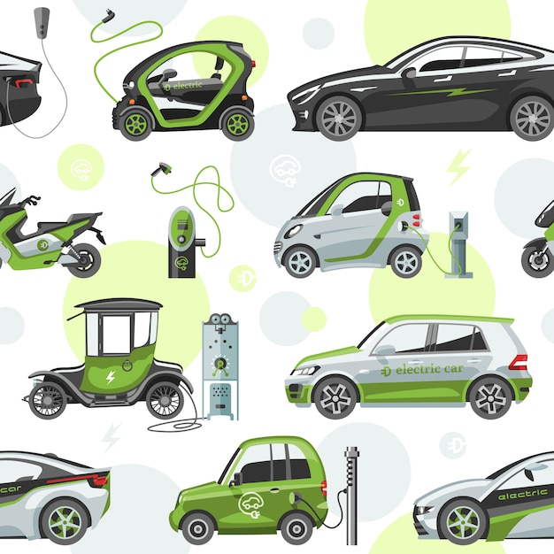Electric  car with solar panels eco electro transport illustration automobile socket electrical car battery charger seamless pattern background Premium Vector