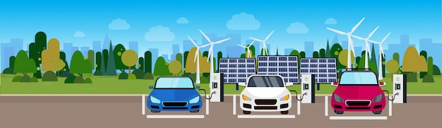 Electric cars charging at station from wind trurbines and solar panel batteries eco friendly vechicle concept horizontal banner Premium Vector