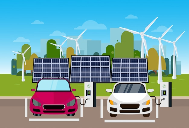 Electric cars charging at station from wind trurbines and solar panel batteries eco friendly vechicle concept Premium Vector