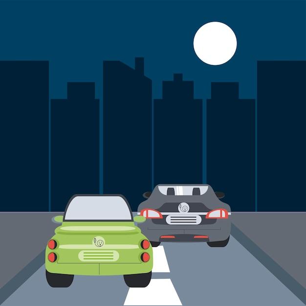 전기 자동차 교통 도로 거리 도시 야경 그림 프리미엄 벡터