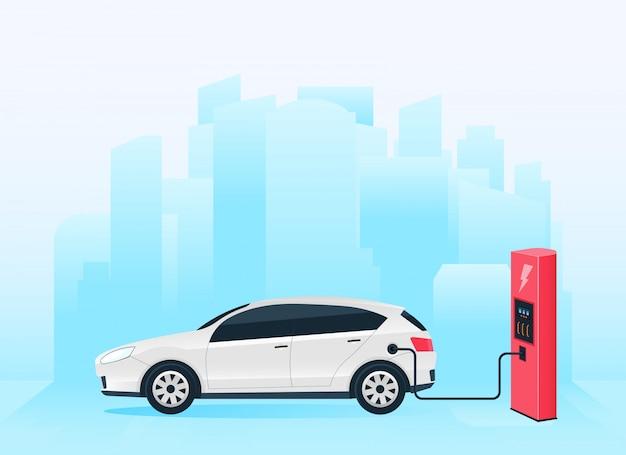 Electric charging station future car, e-motion. Premium Vector