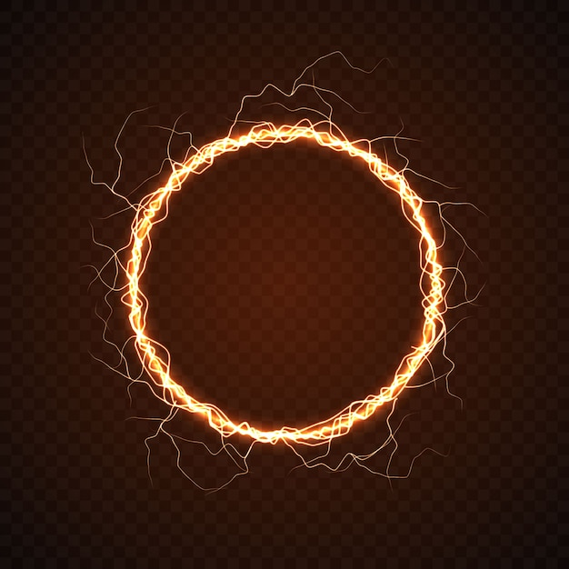 Electric circle with lightning effect. Premium Vector