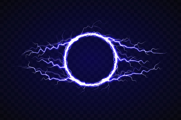 Electric circle with lightning effect Premium Vector