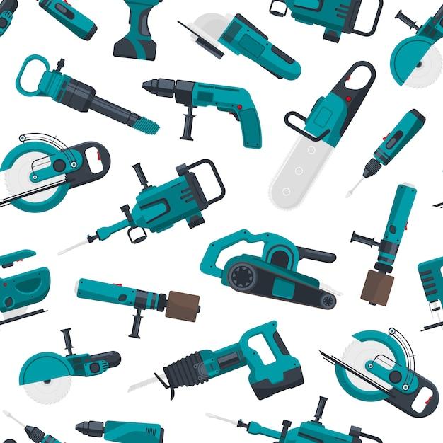 Electric construction tools pattern Premium Vector