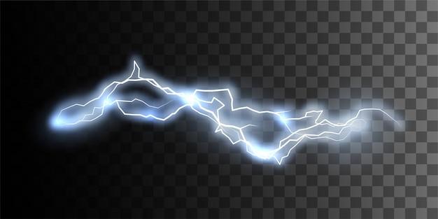 市松模様の透明な背景に分離された放電。設計のための電気視覚効果。サンダーボルトまたは稲妻の自然な効果 Premiumベクター