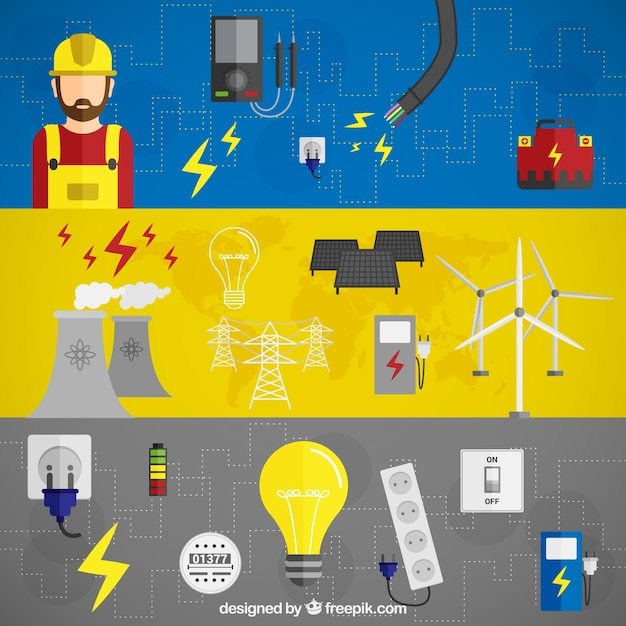 Electric energy banners Free Vector