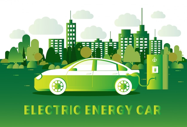 Electric energy car concept hybrid vechicle charging at station over silhouette green city view Premium Vector