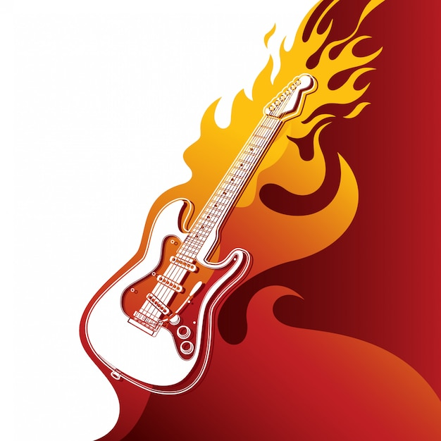 Electric guitar on fire Premium Vector