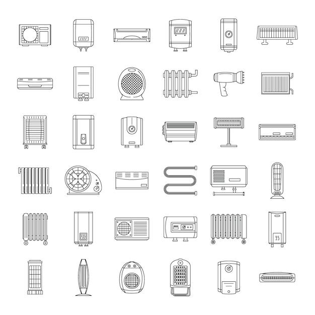 Electric heater device icons set Premium Vector
