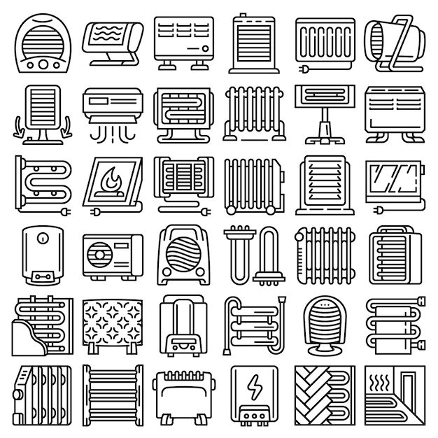Electric heater icon set, outline style Premium Vector