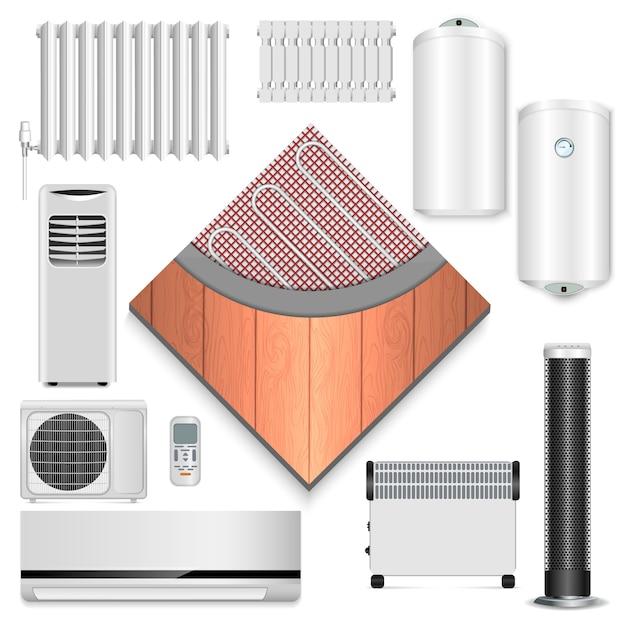 Electric heater icon set Premium Vector