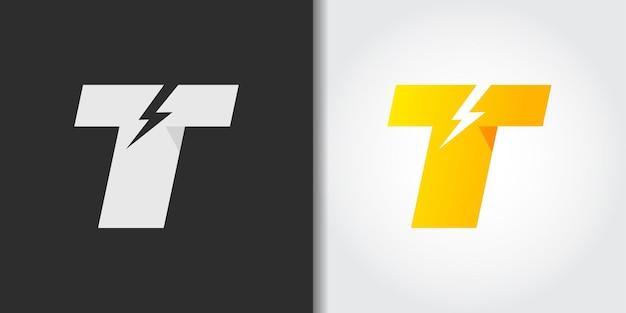 Электрическая буква t логотип иллюстрации Premium векторы