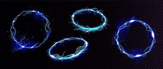 電気稲妻フレーム、正面と角度のビューで円のデジタル光る境界線。分離された青い丸い火花放電のベクトル現実的なセット 無料ベクター