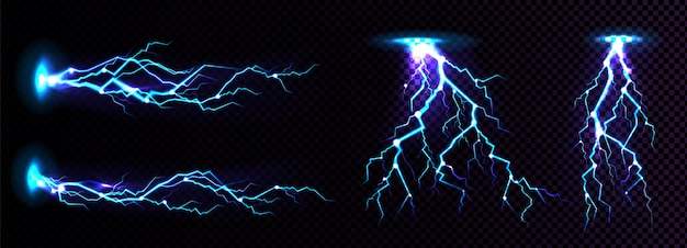 Electric lightning strike, impact place Free Vector