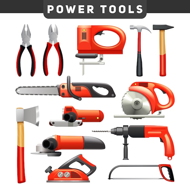 Electric and mechanical power carpenter worker tools flat pictograms set in red and black Free Vector