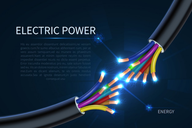 Premium Vector Electric Power Cables Energy Electrical Wires Abstract Industrial Background