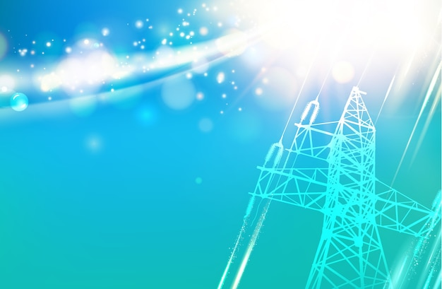 Electric power transmission tower Free Vector