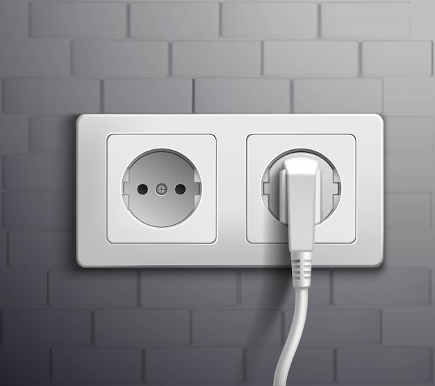 Electric socket cabel plugged Free Vector