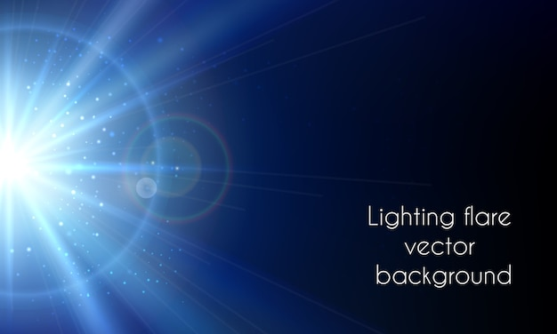일렉트릭 스타 플래시. 추상 조명 플레어 벡터 배경입니다. 광채 밝은 하늘 무료 벡터