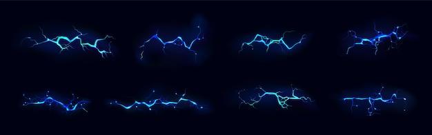 밤 동안 파란색의 전기 벼락 파업 세트 무료 벡터