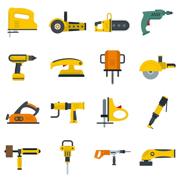 Electric tools icons set in flat style Premium Vector