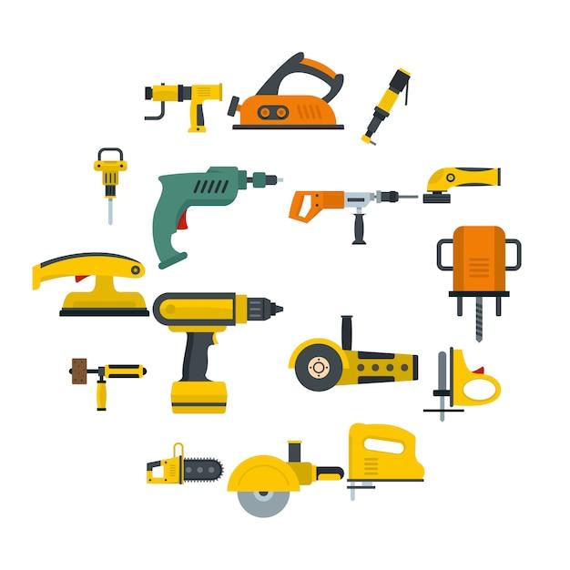 Набор иконок электрических инструментов в плоском стиле Premium векторы