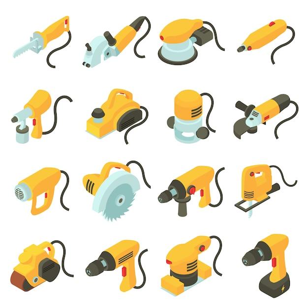 Набор иконок электрических инструментов. изометрические мультфильм иллюстрация 16 электрических инструментов векторных иконок для веб Premium векторы